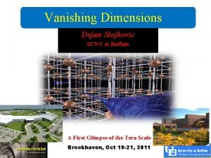 Vanishing Dimensions Dejan Stojkovic SUNY at Buffalo A