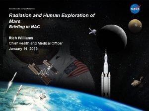 National Aeronautics and Space Administration Radiation and Human