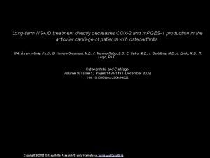 Longterm NSAID treatment directly decreases COX2 and m