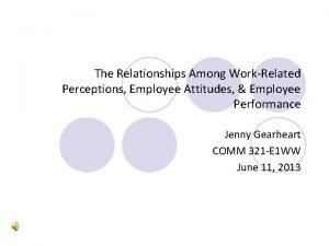 The Relationships Among WorkRelated Perceptions Employee Attitudes Employee