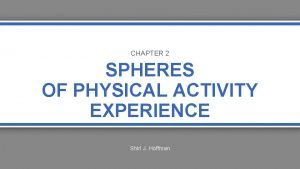 CHAPTER 2 SPHERES OF PHYSICAL ACTIVITY EXPERIENCE Shirl