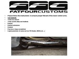 Installation instructions for your new FFC Lower Control