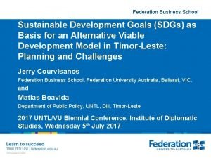 Federation Business School Sustainable Development Goals SDGs as