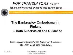 FOR TRANSLATORS 1 3 2017 some minor stylistic