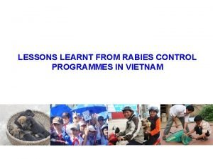 LESSONS LEARNT FROM RABIES CONTROL PROGRAMMES IN VIETNAM