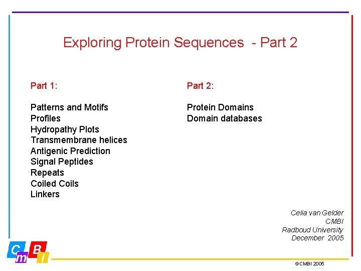 Exploring Protein Sequences Part 2 Part 1 Part