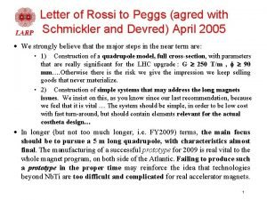 Letter of Rossi to Peggs agred with Schmickler