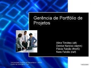 Gerncia de Portflio de Projetos Aline Timteo alt