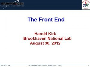 Institutional Logo Here The Front End Harold Kirk