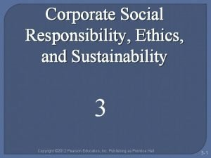 Corporate Social Responsibility Ethics and Sustainability 3 Copyright