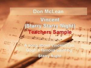 Don Mc Lean Vincent Starry Night Teachers Sample