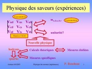 Physique des saveurs expriences 4 paramtres Vud Vus