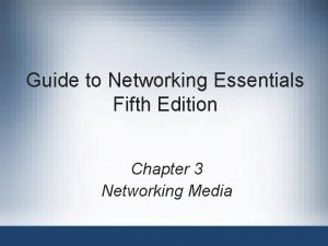 Guide to Networking Essentials Fifth Edition Chapter 3
