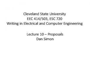 Cleveland State University EEC 414503 ESC 720 Writing