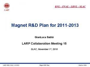 BNL FNAL LBNL SLAC Magnet RD Plan for