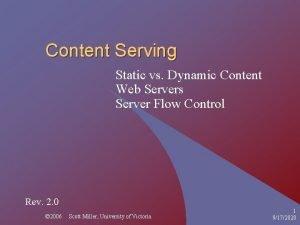 Content Serving Static vs Dynamic Content Web Servers