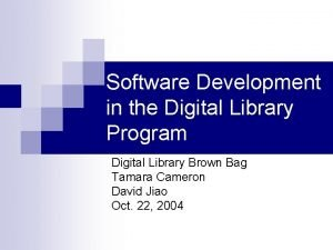 Software Development in the Digital Library Program Digital