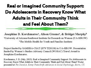 Real or Imagined Community Support Do Adolescents in