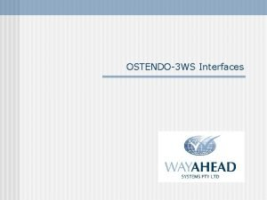 OSTENDO3 WS Interfaces Introduction Interfaces are available between