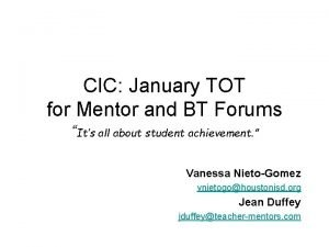 CIC January TOT for Mentor and BT Forums