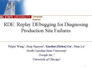 Computer Science RDE Replay DEbugging for Diagnosing Production