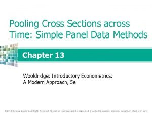 Pooling Cross Sections across Time Simple Panel Data