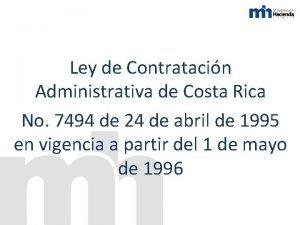 Ley de Contratacin Administrativa de Costa Rica No
