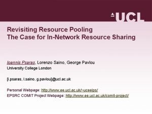 Revisiting Resource Pooling The Case for InNetwork Resource