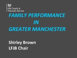 FAMILY PERFORMANCE IN GREATER MANCHESTER Shirley Brown LFJB