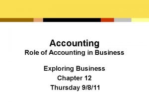 Accounting Role of Accounting in Business Exploring Business