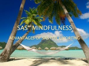 SAS MINDFULNESS ADVANTAGES OF SAS FOR REPORTING Advantages