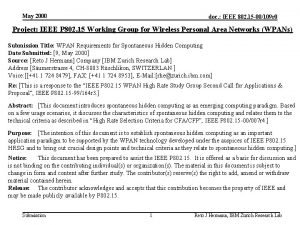 May 2000 doc IEEE 802 15 00109 r