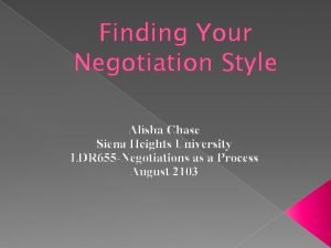 Finding Your Negotiation Style Alisha Chase Siena Heights
