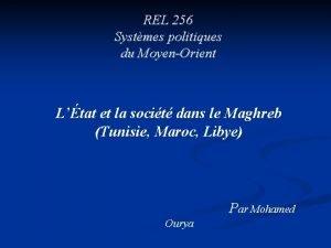 REL 256 Systmes politiques du MoyenOrient Ltat et