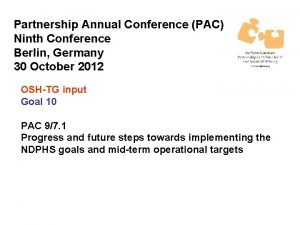 Partnership Annual Conference PAC Ninth Conference Berlin Germany