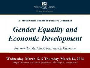 Jr Model United Nations Preparatory Conference Gender Equality