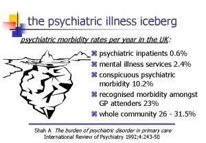 the psychiatric illness iceberg psychiatric morbidity rates per