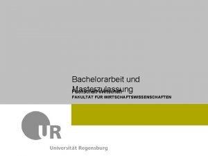 Fachschaft Wirtschaft Dr Max Mustermann FAKULTT FR WIRTSCHAFTSWISSENSCHAFTEN