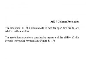 31 E7 Column Resolution The resolution Rs of