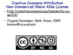 Creative Commons Attribution NonCommercial Share Alike License http