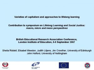 Varieties of capitalism and approaches to lifelong learning