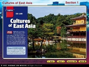 Cultures of East Asia Section 1 Cultures of
