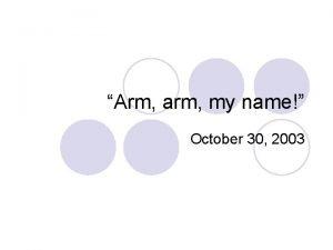 Arm arm my name October 30 2003 Unhappy