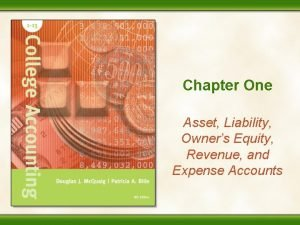 Chapter One Asset Liability Owners Equity Revenue and