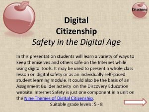 Citations Digital Citizenship Safety in the Digital Age