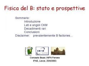 Fisica del B stato e prospettive Sommario Introduzione