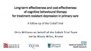 Longterm effectiveness and costeffectiveness of cognitive behavioural therapy