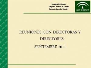 Consejera de Educacin Delegacin Provincial de Crdoba Servicio