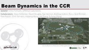 Beam Dynamics in the CCR Speaker Chris Tennant