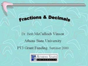 Dr Beth Mc Culloch Vinson Athens State University